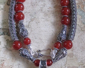 Fire of the Sun -- AA Carnelian Sterling Bali Necklace