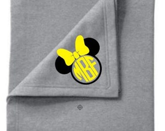 Personalized Monogrammed Custom 50x60 Mickey or Minnie Mouse Sweatshirt Blanket - Pick Design & Vinyl Color!  Great Gift for any Occasion