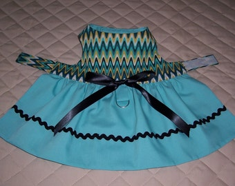 Handmade XS-S Dog Dress Zig Zags and Turquoise Bow Rickrack Braid Clothes Pets