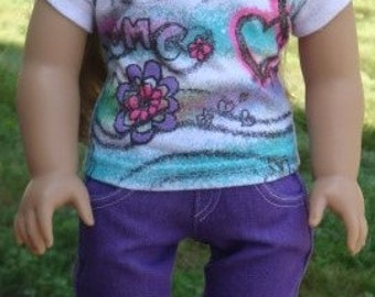 Graphic T-Shirt and Purple Skinny Jeans For American Girl Or Similar 18-Inch Dolls