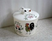Ceramic Rooster Bowl, Cow Lid, Pottery, 1950s Vintage Crock, Farmhouse Home Decor, Kitchen, Dining