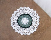 Woodland Lace Crochet Doily, French Country Table Decor, Cottage Chic
