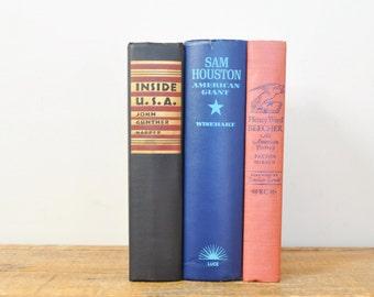 Vintage Book Display Lot Patriotic Books Americana Home Decor US History Biography