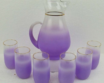 Vintage Retro Mid Century Pitcher Retro Barware Blendo Lavender Purple Art Glass Gold Tipped Set Six Tumblers Violet Verbena Pitcher