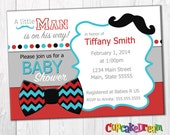 Mustache Baby Shower Invitation, Boy Baby Shower