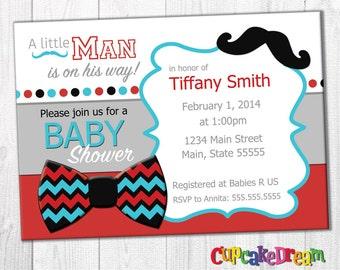 Mustache Baby Shower Invitation, Boy Baby Shower