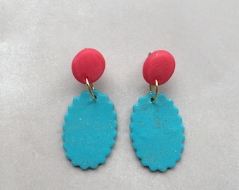 "Polymer clay ""Crimpy"" drop earrings aqua and coral"