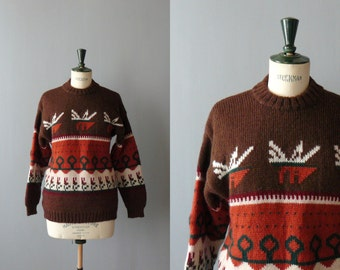 Vintage sweater. Brown wool sweater. 1980s deadstock chunky sweater