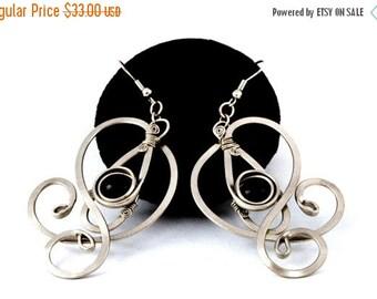 ON SALE Wire Wrap Black Earrings Onyx Earrings Dangle Earrings Long Earrings Elegant Earrings Gemstone Earrings Stone Earrings Romantic Jewe