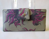 Handmade wallet for women - octopus by Sarah Watts - Cotton Steel - Mystery food in light grey - vegan clutch - cotton purse