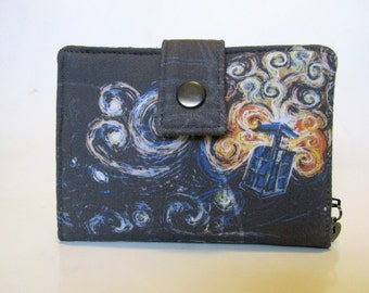 Handmade women wallet - small and slim - Dr Who black explosion - TARDIS - ID clear pocket - ready to ship - gift for her