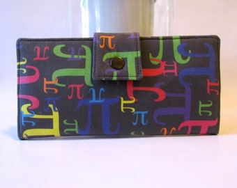 Handmade women wallet - Pi symbols in colors - math wallet - ready to ship - vegan purse - Gift for her - Only two wallets available