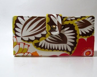 CLEARANCE - Handmade women wallet clutch - large floral, bold colors print - Ready to ship - vegan purse - Gift ideas for her