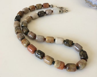 Unisex Necklace Men's Necklace Handmade Necklace Coprolite Bloodstone Rustic Dino
