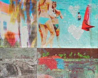Florida art, digital collage, colorful, beach, wall art, home decor, resort art, South Beach, edgy, contemporary, office art, photo montage,