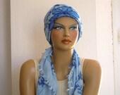 Blue turkish scarf, needle lace, oya, square, summer scarf