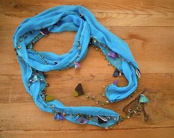 turquoise beaded scarf, hairband bandana