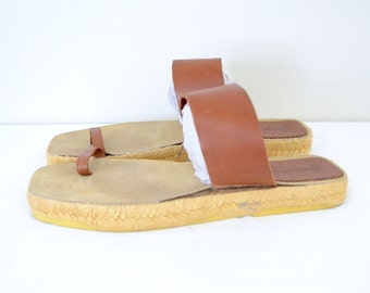 1970s minimal brown leather sandals // vintage spanish espadrilles sandals // size 6 7