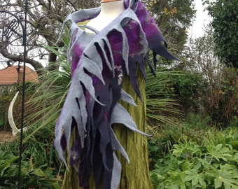 Grey purple hand felted spikey scarf  - quirky lagenlook style -made to order - art to wear