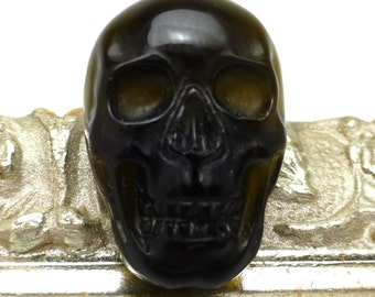 Obsidian Skull Cabochon Black Carving Carved Halloween Day of the Dead Unusual Rare Designer Fashion Goth Gothic Oddity Unique Jewelry