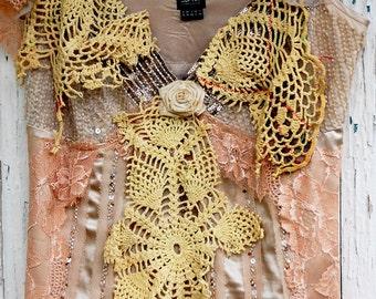 Dress,slip dress, wedding dress, upcycled dress, lace dress, beaded, champagne, jane austen, fairypunk, women fashion, romance, lace,flowers