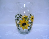 Vase, Hand painted vase, Vase with Sunflowers, large vase, tall vase, glass vase, squaqre vase, decorative vase, tall glass vase