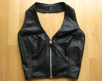 Vintage Black Leather Zip Front Lace Up Back Halter Top XS