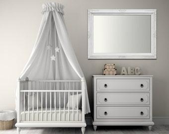 "ANY COLOR- Baby Nursery Mirror Nursery Decor Girl Boy Baroque Vanity Mirror Wall Mirror 37""x27"" White Pink Yellow Baroque Mirror Rectangle"
