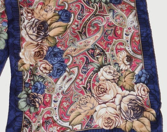 Vintage 90s Paisley Floral Scarf / 1990s Oblong Silk Scarf