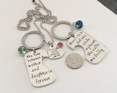 1 set - 3 piece Family Mother and daughter quote, Father and daughter quote and daughter necklace, personalized with birthstones
