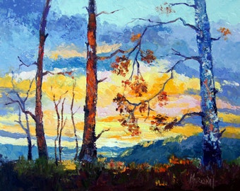 Original oil landscape painting, sunset and trees painting - landscape Impressionist Palette Knife oil painting, 10x12 Artbymarion