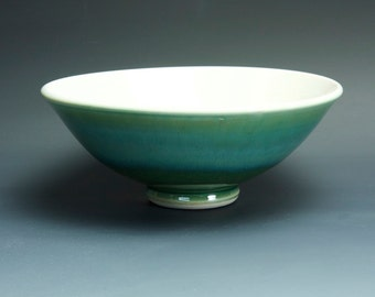 Handmade pottery bowl jade green porcelain serving or pottery salad bowl 24 oz - 3395