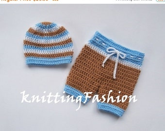 PROMO 10% PROMO Baby Boy First Outfit _Baby Boy Hat and Crochet Shorts _Baby Boy First Outfit_ Newborn Boy Crocheted Beanie and Shorts