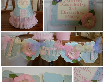 Shabby Chic Flower Petite 1st Birthday Party Package baby shower banner, tea party birthday, bridal shower banner, birthday decorations