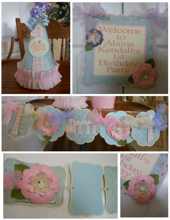 Shabby chic flower petite 1st birthday party package baby for 1st birthday decoration packages