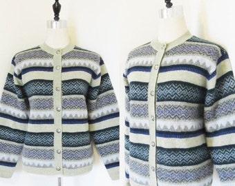 50% OFF SALE Vintage Warm Wool Winter Sweater Cardigan / Woman's Ski Sweater Size Medium