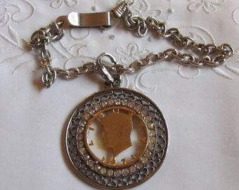 Vintage Pewter Pocket Watch Chain with John F. Kennedy and Clear Faceted Rhinestones