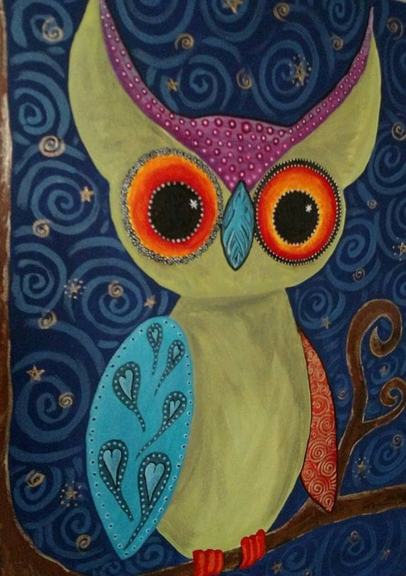Woodland owl painting original owl painting whimsical for Night owl paint color