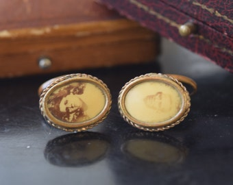Antique Mourning Photo Cuff Links c.1900
