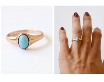 Antique 10k Gold Ring With Turquoise Stone c.1900