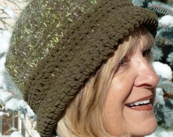 Women's Winter Accessories, Green Crochet Hat, Women's Hat