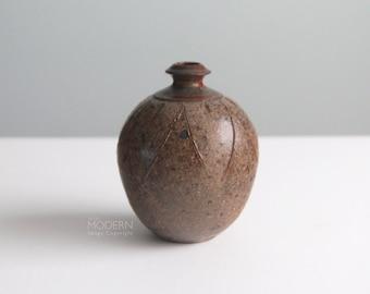 Vintage Studio Pottery Incised  Stoneware Vase Weed Pot Mid Century Modern