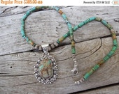 ON SALE Turquoise necklace handmade in sterling silver