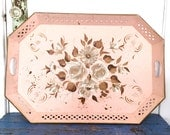 Shabby Pink Tole Ware Nashco floral tray