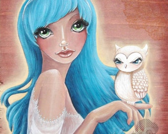 Giclee Fine Art Archival Print ~ Minerva & Owl ~ Mixed Media Art ~ By Kim Costello