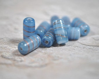 Light blue and gold glass tubes, 10x19mm - #1672