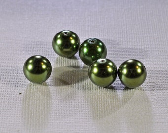 Olive Green glass pearls, 4 sizes - #1200/1201/1202/1203