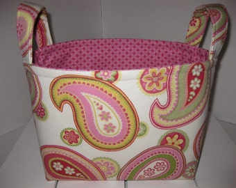 Ready to Ship ! Pink Blue Green Paisley Flowers Fabric Organizer Bin / Basket / Small Diaper Caddy