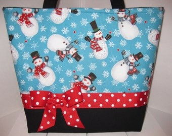Christmas Snowman Snowmen Purse / Tote / Diaper Bag- Personalization Available