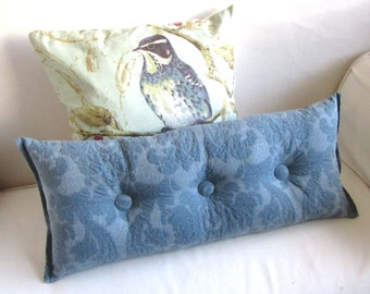 BLUE accent lumbar throw Bolster Pillow with buttons 11X26
